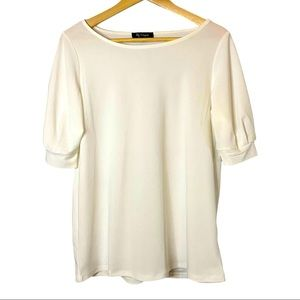Lily Morgan elbow sleeve scoop neck blouse